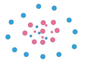 青:オス  赤:メス 大きい丸:成体 小さい丸:子供